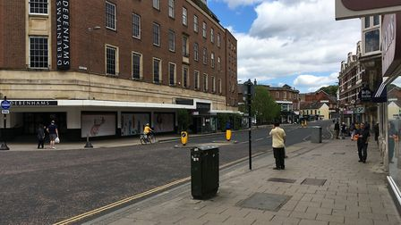 Red Lion Street in Norwich on Saturday, May 16, 2020, a week after coronavirus lockdown restriction