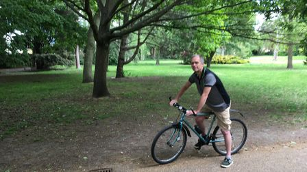 Raymond Sadd on his daily exercise in Waterloo Park, Norwich, a week after coronavirus restrictions