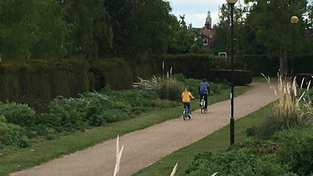 A couple of cyclists in Waterloo Park, Norwich, on May 16, 2020. Picture: Sophie Wyllie