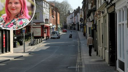 Hannah Springall of The Farmyard (inset) wants to see St Benedicts Street pedestrianised for three m