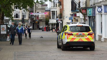 Police patrol as a few people were out and about in Norwich city centre on Saturday <23.5.20> of the