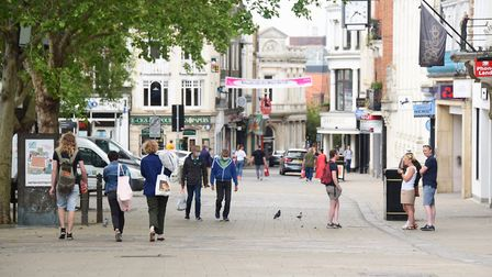 A few people out and about in Norwich city centre on Saturday <23.5.20> of the spring bank holiday.
