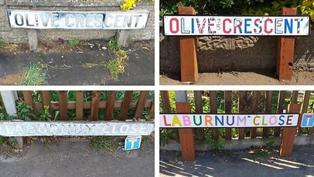 A mystery man has restored faded street signs in Horsford and repainted them in bright colours, with