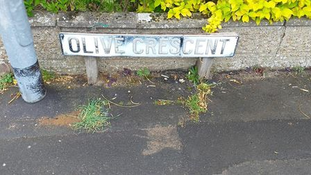 The Olive Crescent sign before it was restored. Picture: Supplied by the Horsford Banksy