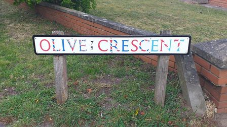 A restored sign on Olive Crescent, painted as a VE Day tribute. Picture: Supplied by the Horsford Ba