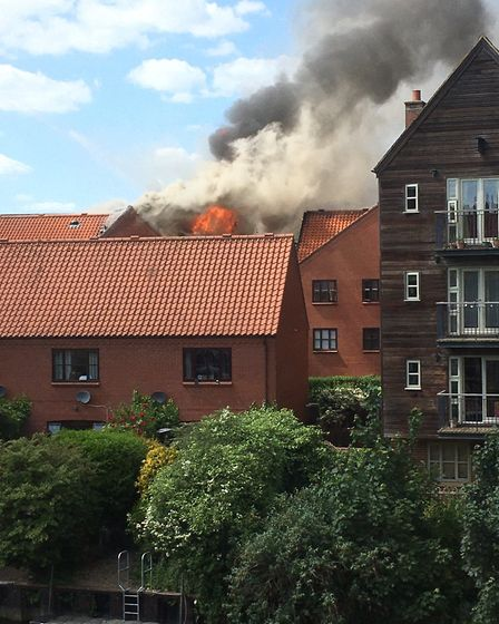 The fire seen from behind Fishergate. Picture: Lisa Vincent