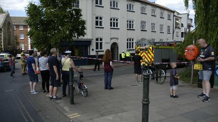 Crowds watching the fire in Fishergate in Norwich. Picture: Simon Parkin