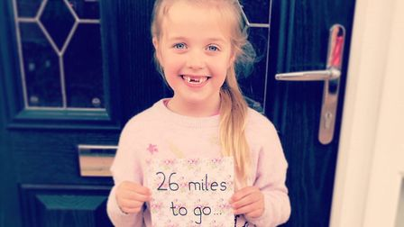 Eight-year-old Jessica Bingham has completed a 26-mile challenge to raise money for East Anglia's Ch