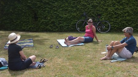 Liz Somerville and book club at Waterloo Park after lock down restrictions altered. Pictures: BRITT