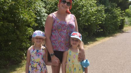 Gemma Brown, 34, with her daughters Sophia Seymour 5 and Vienne Seymour 4 at Waterloo Park after loc