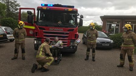 Firefighters visited Dorris Warr, from St Edmunds care home in Attleborough, as she celebrated her 1