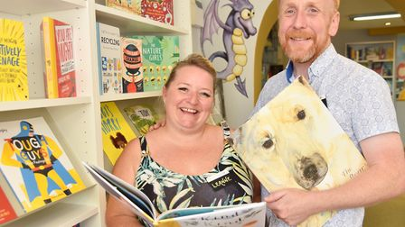 Leanne and Dan Fridd are creating a giant snakes and ladders on the floor of their shop Bookbugs and