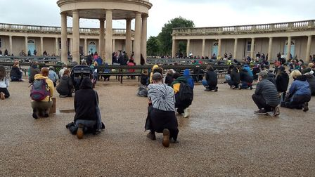 Protesters take a knee at the Black Lives Matter protest in Eaton Park, Norwich, on Sunday, June 7.