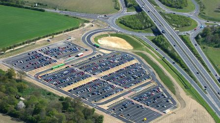 A aerial view of Harford Park and Ride where the Harford Car Boot sale takes place. Photo: Mike Page