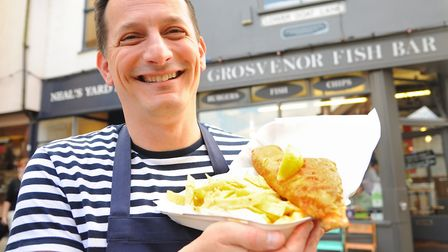 Christian Motta with fish and chips from his Grosvenor Fish Bar, which is delivering across Norwich.