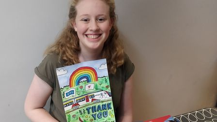 Ella Young, 12, from Norwich, has been named the winner of Greater Anglia's poster competition. Pict