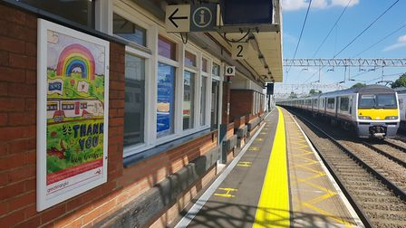 Norwich's Ella Young has had her poster put on display at Colchester Station. Picture: Greater Angli