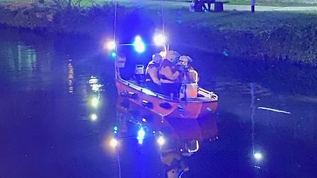 Rescue teams used specialist equipment in their attempted to find a man who had fallen overboard. Pi