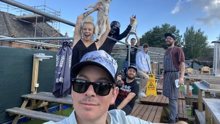 Brad Baxter and his team on the rooftop at Gonzo's Tea Room in Norwich where they are creating 'coro