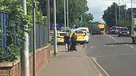 Police activity near Aylsham Road in Norwich where four people were arrested following reports of fi