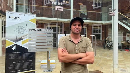 Brian Korteling outside Pivotal House in Norwich, where the Belated Spring Art Show will be held. Pi