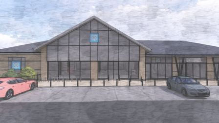 An artist's image of the proposed food store on Fieldfare Way on Queen's Hill estate in Costessey. P