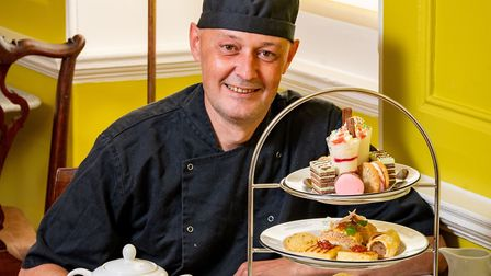 Award-winning pastry chef Mark Mitson with the Assembly House's ice cream-inspired afternoon tea Pic