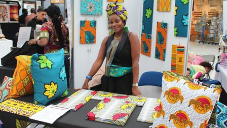 Shongedzo stall selling cushions and lampshades created with vibrant African fabrics Picture: Norwic
