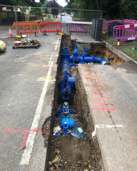 Work on the £1.9m water scheme on Salhouse Road in Sprowston. Picture: Darren Mears