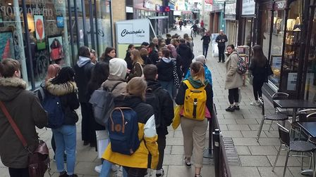 Queues along Davey Place for Christophe's Crepes in Norwich on Pancake Day Picture: Supplied by Chri