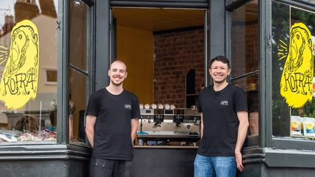 Baristas James Cowan and David Rickenback at the new Kofra coffee shop in NR3 Picture: SARAH LUCY BR