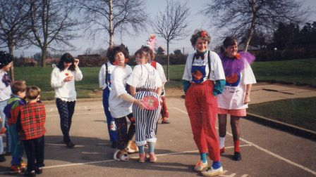 Staff at Hethersett Woodside School on a Red Nose Day in the 1990s. Viv Horobin, second right. Pictu