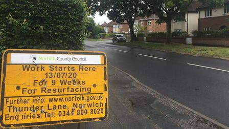 Thunder Lane in Thorpe St Andrew will close for cycle improvements and resurfacing. Pic: Andrew Fitc