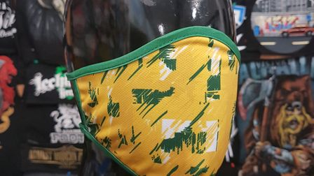One of the Norwich-City themed face masks sold by indepemdent fan group Along Come Norwich. Picture: