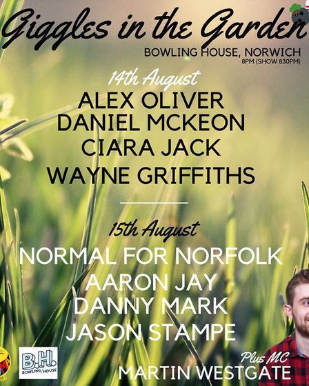The line-up for Hooma Comedy's August show at Bowling House. Picture: Hooma Comedy