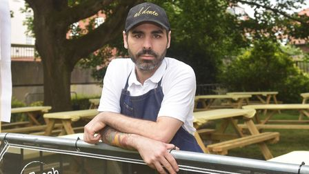Owner of Al Dente pasta bar Adriano Turco at the new outdoor dining area in St Giles Street, Norwich