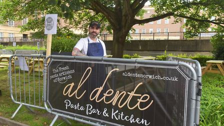 Al Dente owner Adriano Turco at the new outdoor seating area in St Giles Street, Norwich Pictures: B