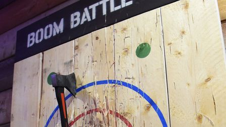 A successful axe throw at Boom: Battle Bar, opened in Norwich's Castle Quarter. Picture: DENISE BRAD