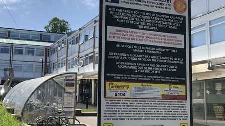 The terms and conditions of parking at Earlham House on Earlham Road in Norwich. Picture: Neil Didsb