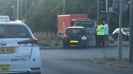 Police at scene of crash on A146 at junction with A47 at Trowse. Picture: Sarah Burgess