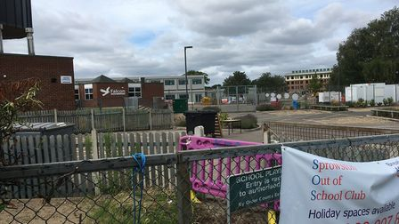 The temporary classrooms in the background behind Falcon Junior School in Sprowston. Picture: Sophie