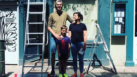 Tom and Dulcie Humphrey with their seven-year-old son Francis, out the Fairhurst Gallery and Worksho