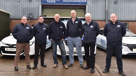 ABC Taxis marketing manager Chris Harvey, second from left, said passenger numbers are now back on t