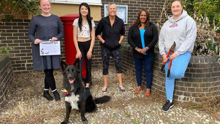 Charlotte, Poppy, Jody, Sophia and Tasha along with Buzz the dog, who will all be taking part in the