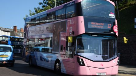 One of the First Eastern Counties' Pink Line buses in action in Norwich. Picture: DENISE BRADLEY
