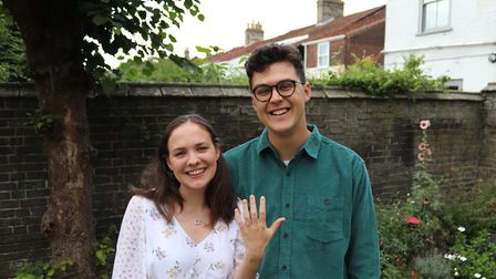 Rebecca James and Josh Day after gettng engaged in October 2019. Picture: Reverend Dr Richard James