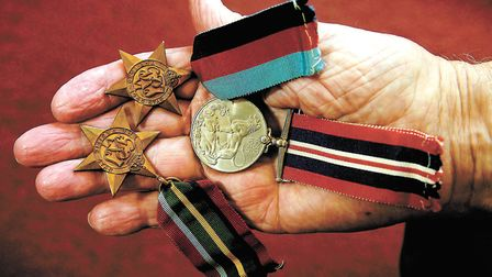 Rouse Voisey's Second World War medals incuding the 1939/45 war medal, 39/45 star, top, and the Paci