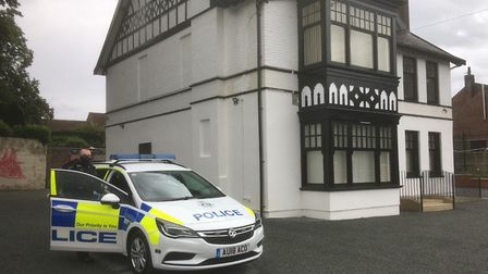 Police at the new mosque site in Aylsham Road Norwich. Picture: Simon Parkin
