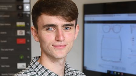 George Bailey, 20, a UEA student founded Coral Eyewear which has been supported by Norfolk TV presen