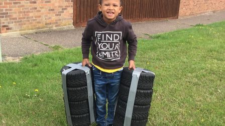 Tao-Rae Samuda Stone, six, is passionate about motor sport. Picture: Kris Stone